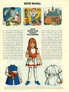 Vintage February 1971 Magazine Paper Doll Betsy McCall Writes From Colonial Williamsburg
