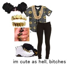 """Black and gold"" by gail13 ❤ liked on Polyvore featuring Retrò"