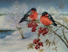 Картины (живопись) : Снегири