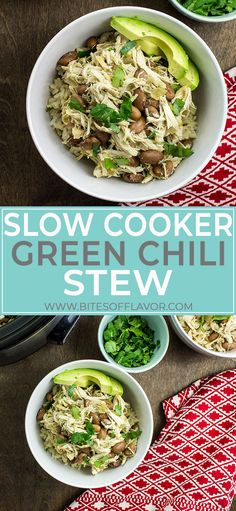 Slow Cooker Green Chili Stew is a delicious bowl of Southwestern flavors! Slow cooked chicken and pinto beans in a savory broth of green chili spices and green chilies served over rice. Slow Cooker Casserole, Slow Cooker Soup, Slow Cooker Recipes, Crockpot Recipes, Soup Recipes, Healthy Recipes, Hotdish Recipes, Freezer Recipes, Whole30 Recipes