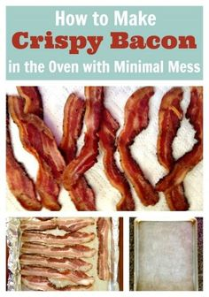 How+to+Make+Crispy+Bacon+in+the+Oven+with+Minimal+Mess! Line cookie sheet with foil Place raw bacon close but not touching Put in cold oven Heat oven to 400 degrees and set timer for 15 minutes. Crispier bacon may require 5 more minutes. Bacon Recipes, Brunch Recipes, Cooking Recipes, Slow Cooking, Pressure Cooking, Paleo Bacon, Bacon Bacon, Cooking Tips, Dinner Recipes