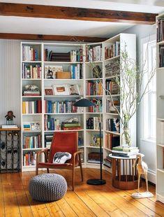 Home library furniture ikea billy 41 Best Ideas Corner Bookshelves, Bookshelves In Living Room, Ikea Living Room, Bookshelf Design, Bookshelf Decorating, Bookshelf Ideas, Bookshelf Door, Living Spaces, Billy Ikea