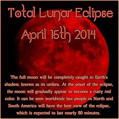 A date to mark in your calendar. There will be a total lunar eclipse on the Full Moon of April 15th. Sometimes known as a Blood Moon because the moon will turn blood red for a while.