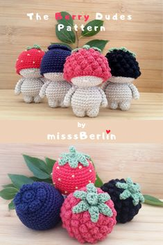 Crochet yourself whimsical Berry Dudes! A 4-in-1 amigurumi mini doll pattern - DIY PDF tutorial with instructions for making 4 dolls!