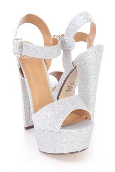 b75240f127 Silver Chunky Platform High Heels Glitter