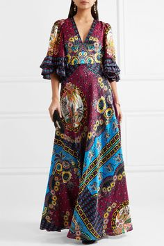 Etro - Ruffled Silk-jacquard And Printed Crepe De Chine Maxi Dress - Red