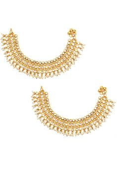 Set of 2 gold finish kundan stone anklets available only at Pernia's Pop-Up Shop.