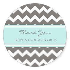 Grey Blue Chevron Thank You Wedding Favor Tags Sticker