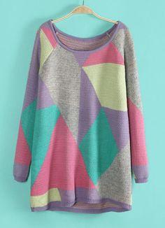 Purple Long Sleeve Geometric Pattern Long Sweater - Sheinside.com