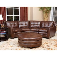 Troy Chestnut Brown Italian Leather Sectional Sofa and Ottoman - Overstock Shopping - Big Discounts on Sectional Sofas