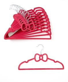 Look at this Hot Pink Bow Hanger - Set of 10 on #zulily today!