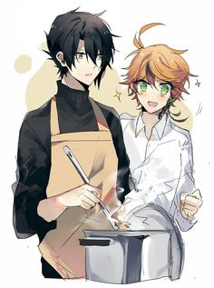 yakusoku no neverland Comic Anime, Manga Anime, Anime Art, Yandere, Kamigami No Asobi, Kawaii, Another Anime, Neverland, Anime Couples
