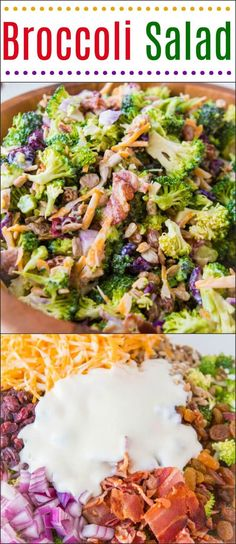 The BEST Broccoli Salad (with Bacon & Cheese!) - Oh Sweet Basil Everyone's favorite quick and easy side for our BEST broccoli salad recipe that's perfect for potlucks and BBQs. Seriously, I'm obsessed with this recipe! Broccoli Salad With Raisins, Best Broccoli Salad Recipe, Broccoli Cauliflower Salad, Healthy Broccoli Salad, Healthy Salad Recipes, Weight Watchers Broccoli Salad Recipe, Broccoli Bacon Raisin Salad, Broccoli Cranberry Salad, Broccoli Bites