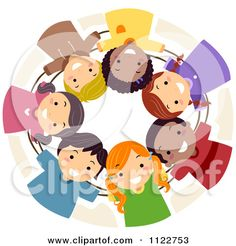 Cartoon Of A Diverse Huddled Team Of Children - Royalty Free Vector Clipart by BNP Design Studio