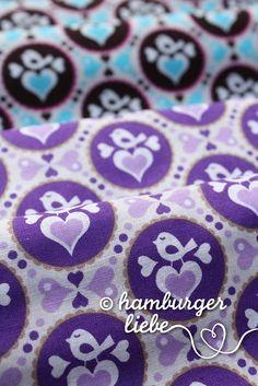 Hamburger Liebe, fabric with birds and hearts