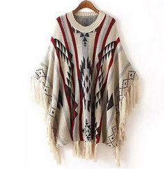 Aliexpress.com: Comprar Mujeres Fringe Poncho Retro suéter azteca geométrica Pollover bandera Pull Femme mujeres capas y ponchos invierno gran tamaño prendas de punto de hombres jersey fiable proveedores en Zhongshan Top Fashion Chain Store