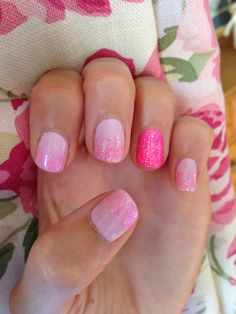 cnd shellac pink glitter reverse french  nail art