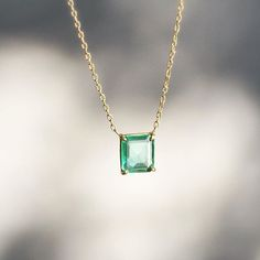 The sweetest little emerald pendant by Rosanne Pugliese. Emerald Pendant, Emerald Necklace, Emerald Jewelry, Crystal Necklace, Diamond Pendant, Diamond Necklaces, Gold Necklaces, Modern Jewelry, Stone Jewelry