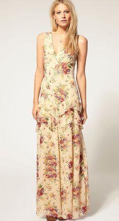 ASOS Floral Print Cut Out Back Maxi Dress