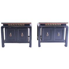 Pair of Black Low Bedside Tables