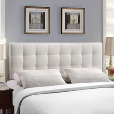 Give any bedroom a touch of style. The deep button tufting and aligned trim of the Modway Lily Leather Headboard makes this a beautiful and functional headboard for any bedroom. This classic headboard will transform your bedroom décor. White Upholstered Headboard, Modern Headboard, Full Headboard, Leather Headboard, Headboard Designs, Queen Headboard, Panel Headboard, Headboards For Beds, Headboard Ideas