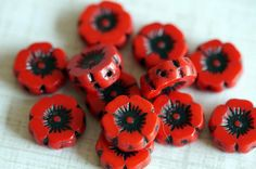 12mm Czech Glass Flowers  Red Poppy Beads  Czech by BeadSoupBeads