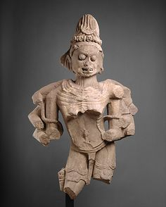 Chamunda, the Horrific Destroyer of Evil, 10th–11th C.. India. a fragment of a full-length sculpture portraying the ferocious Hindu goddess of Chamunda, an epithet derived from her act of decapitating the demons Chanda and Munda.