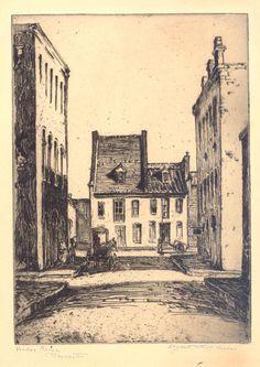Etching, Vendue Range Charleston, by Elizabeth O'Neill Verner. Charleston Museum