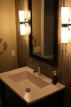 Powder Room Wall Tile And Glass Vessel Sink Powder