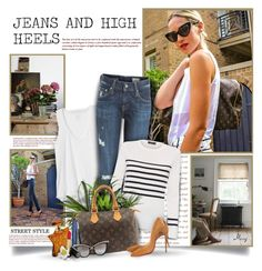 """""""Jeans And High Heels"""" by thewondersoffashion ❤ liked on Polyvore featuring Gap, AG Adriano Goldschmied, Saint James, Bond No. 9, Louis Vuitton, Christian Dior, Christian Louboutin, Anna-Karin Karlsson and Gucci"""