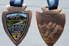 Grand Teton half marathon 2016 medal, Wyoming - Fifty States Half Marathon Club - 50stateshalfmarathonclub.com member photos. Running Bling. Running medals. Photo by Adrienne M