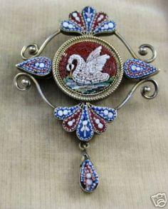Micro Mosaic Swan Locket Brooch 1860