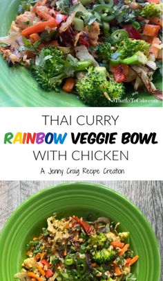 Jenny Craig Recipe Creation: Thai Curry Rainbow Veggie Bowl with Chicken | No Thanks to Cake