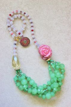 Rose necklace green crystals rose quartz by StarsonMarsJewelryCo