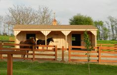 "2 stalls, a tack/feed room.  This 12x32 prefab shedrow barn with 8' overhang is perfect for 2 horses.  The 8' overhang is a ""must have"" upgrade!"