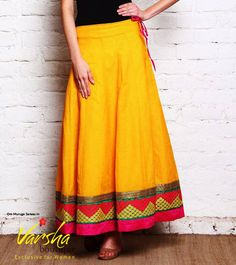 Buy the stunning Cotton yellow color with printed long skirts @ Varsha Boutique... Best worn for any party, festivals, casually in college, hang outs for elegant and smart look...  Contact us at: 97509 44505