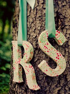 Hanging letters.  Cute for a girl's room. :-)
