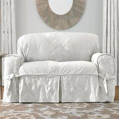 Genial Sure Fit Slipcovers Matelassé Damask Loveseat Chair Slipcover #ATGStores. Shabby  Chic ...