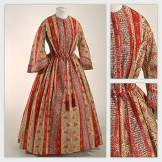 1850s dressing gown. Listed as wool, cotton, silk -- probably wool outer, cotton lining, silk cord. Musee du Costume et du Textile du Quebec.