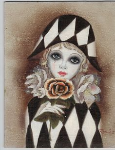 Signed Painting on Wood Harlequin Pierrot Girl With Flower like Mira Fujita