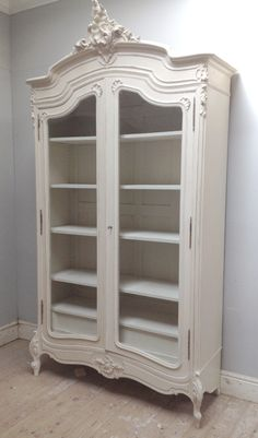 Beautiful Rococo French armoire / Antique c.1890 / painted furniture 'Lime White' & distressed / Frenchfinds.co.uk