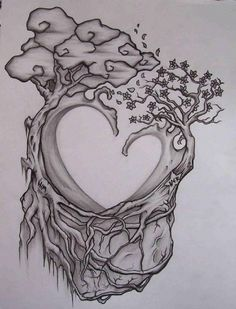 ARTIST: Chad Dorr //  beautiful tattoo sketch.  I like this but instead, a cypress tree and an ocean wave :)