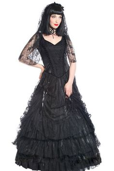 Quanita Black Taffeta & Lace Gothic Dress by Sinister