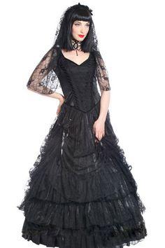 Quanita Black Taffeta & Lace Gothic Dress by Sinister