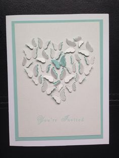 Wedding invitation. Used the memory box butterfly heart die.