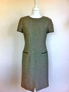 Valentino Herringbone Silk and Wool Dress Size 38 via The Queen Bee. Click on the image to see more!