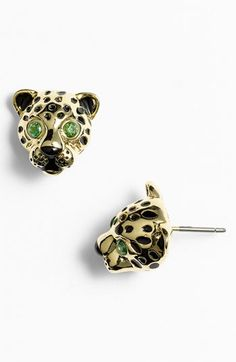 Juicy Couture 'Sloane Rangers' Leopard Stud Earrings available at #Nordstrom