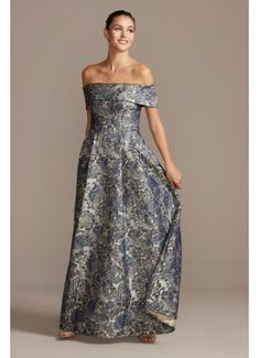 Off the Shoulder Fold Floral Jacquard Gown 8181157