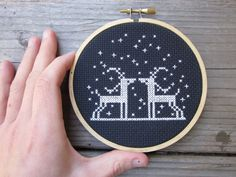 diy x-stitch kit (materials and pattern) deer in the night - to be framed in the hoop