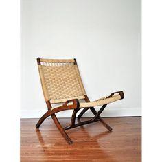 Image of Hans Wegner Mid-Century Rope Folding Lounge Chair